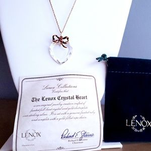 """Lenox Crystal Heart Gold Filled Rope Chain 24"""""""